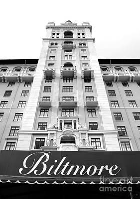 Biltmore Hotel Miami Coral Gables Florida Exterior Awning And Tower Black And White Poster