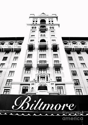 Biltmore Hotel Miami Coral Gables Florida Exterior Awning And Tower Bw Conte Crayon Digital Art Poster
