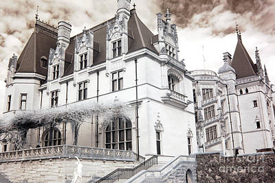 Biltmore Mansion Estate Asheville North Carolina - Surreal Biltmore Estate Mansion  Poster by Kathy Fornal