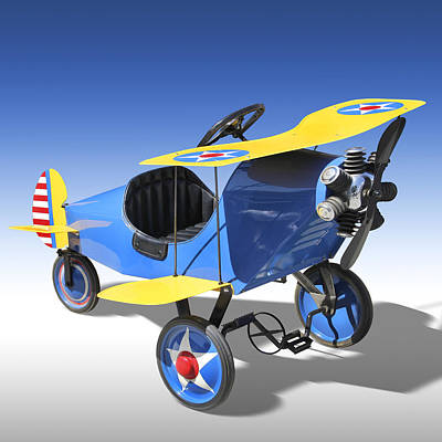 Biplane Peddle Car Poster by Mike McGlothlen