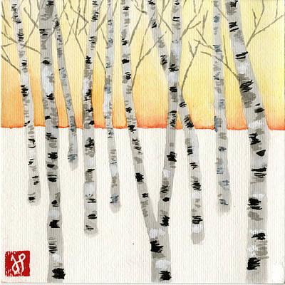 Birch At Sunrise Poster