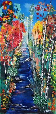 Birch Trees Along River Bank Poster