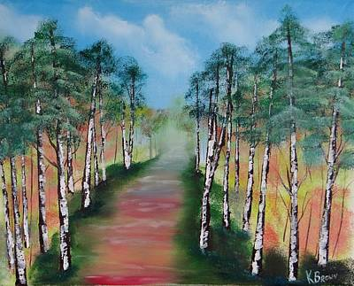 Birch Trees Along Winding Path Poster