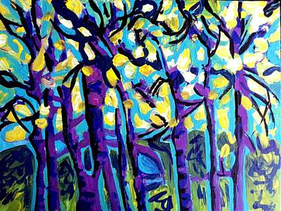 Birch Trees Blue Poster