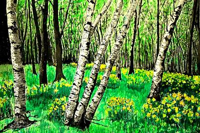 Birch Trees In Spring Poster by Diane Merkle