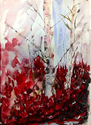 Birch Trees - Red Fall Foliage Poster