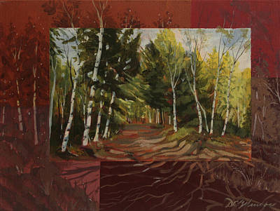 Birches Along The Lane Poster