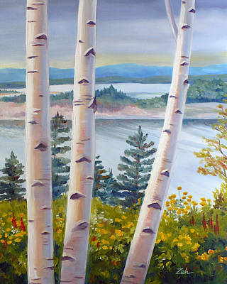 Birches In Nova Scotia Poster by Janet  Zeh