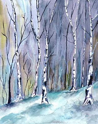 Birches In The Forest Poster