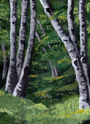 Poster featuring the painting Birches by Jesslyn Fraser