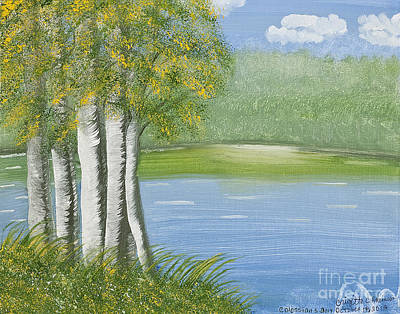 Birches By The Lake Poster