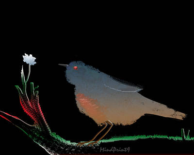 Bird And The Flower Poster by Asok Mukhopadhyay