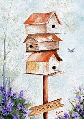 Bird House Hotel Poster by Zelma Hensel