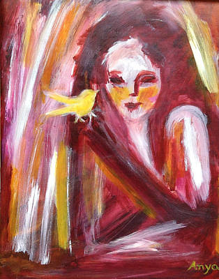 Poster featuring the painting Bird In Hand by Anya Heller