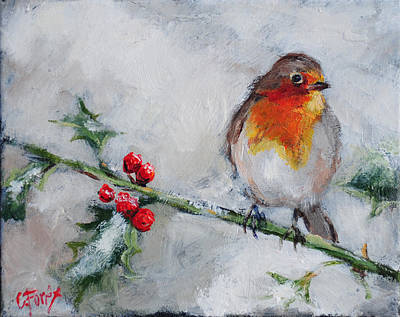 Bird In The Winter Snow Poster by Carole Foret
