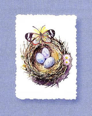 Bird Nest With Daisies Eggs And Butterfly Poster by Irina Sztukowski
