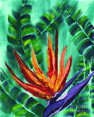 Bird Of Paradise Crane Flower Acrylic Painting Poster by Beverly Claire Kaiya