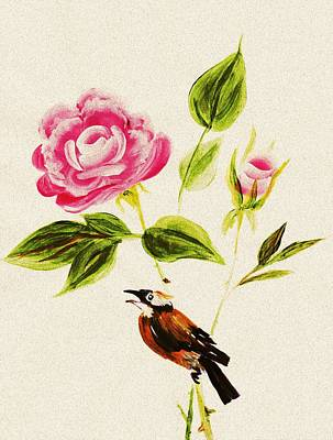 Bird On A Flower Poster by Anastasiya Malakhova