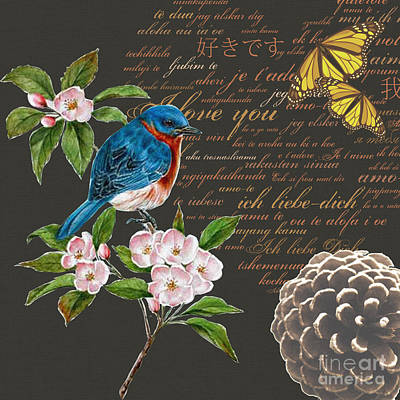 Bird Painting Collage Butterfly Flower Poster by Art World