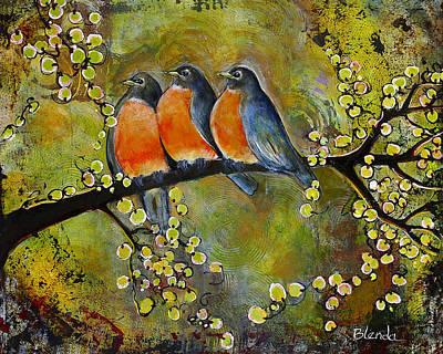 Three Little Robin Birds Poster by Blenda Studio