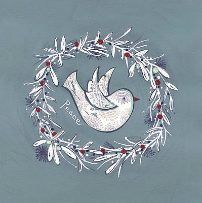 Bird Wreath Poster by P.s. Art Studios