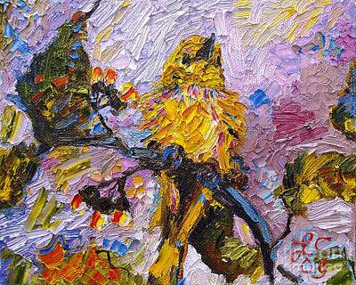 Bird Yellow Warbler Oil Painting Poster
