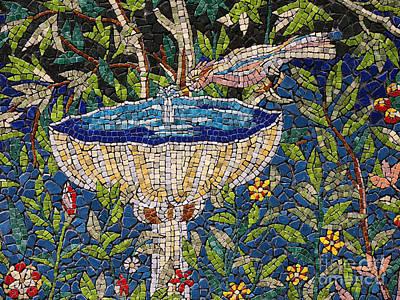 Birdbath Mosaic Poster