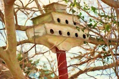 Birdhouse In Garden Poster