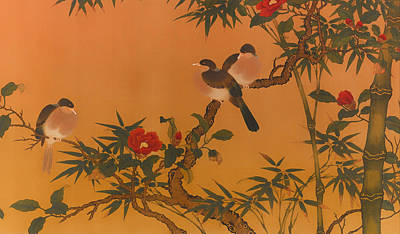 Birds Bamboo And Camellias Poster by Mountain Dreams