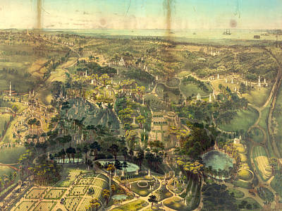 Birds Eye View Of Greenwood Cemetery Near New York By John Poster by Litz Collection