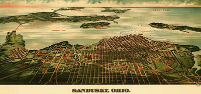 Bird's Eye View Of Sandusky Ohio 1898 Poster