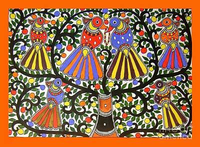 Birds-madhubani Painting Poster