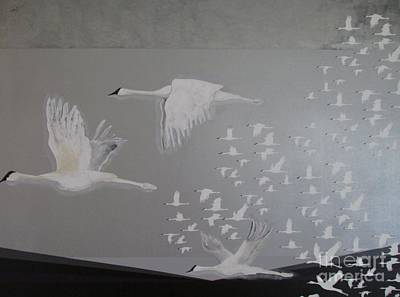 Poster featuring the painting Birds On A Silver Sky by Nereida Rodriguez