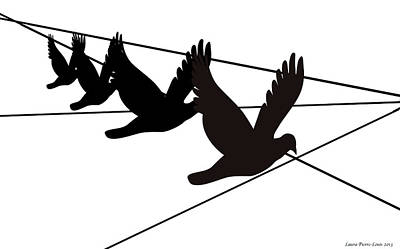 Birds On The Wire Poster by Laura Pierre-Louis