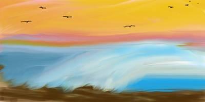 Birds Over The Ocean Poster
