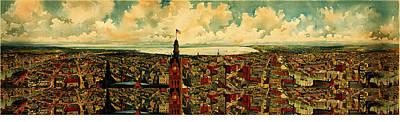Birdseye Panorama Of Milwaukee 1898 Poster