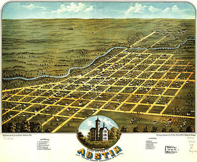 Birdseye View Of Austin Minnesota 1870 Poster by MotionAge Designs