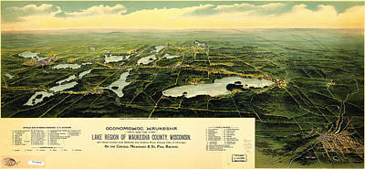 Birdseye View Of Waukesha County Wisconsin 1890 Poster by MotionAge Designs