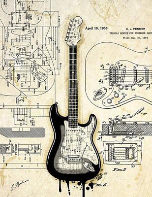 Fender Strat Birth Certificate Poster by Gary Bodnar