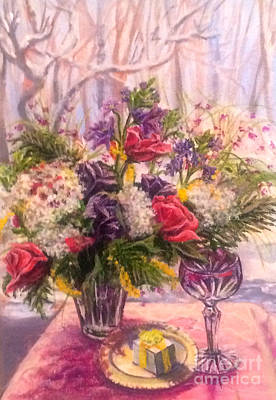 Poster featuring the painting Birthday Flowers by Gail Allen