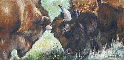 Poster featuring the painting Bison Brawl by Lori Brackett
