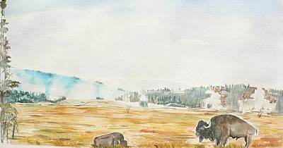 Bison In Yellowstone Poster by Geeta Biswas