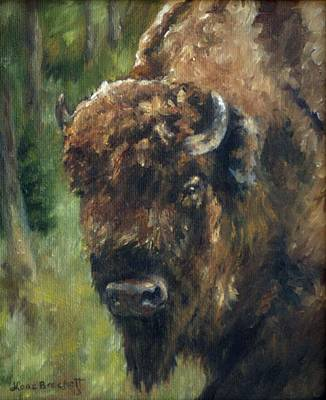 Bison Study - Zero Three Poster by Lori Brackett