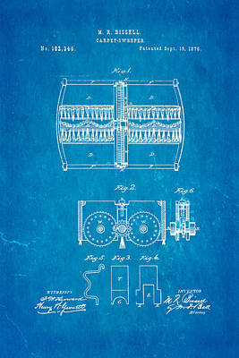 Bissell Carpet Sweeper Patent Art 1876 Blueprint Poster by Ian Monk