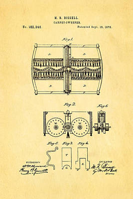 Bissell Carpet Sweeper Patent Art 1876 Poster by Ian Monk