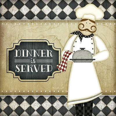 Bistro Chef Dinner Is Served Poster