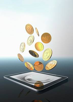 Bitcoins And Digital Tablet Poster by Victor Habbick Visions