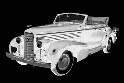 Black An White 1938 Cadillac Lasalle Pop Art Poster