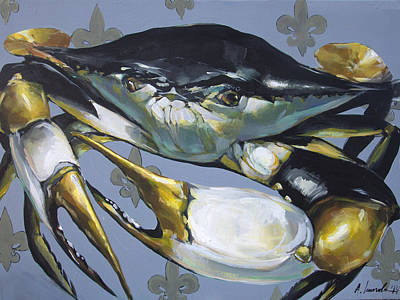 Black And Gold Crab Poster by Anya Lincoln