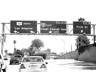 Poster featuring the photograph Black And White Abstract City Photography...l.a. Freeway by Amy Giacomelli
